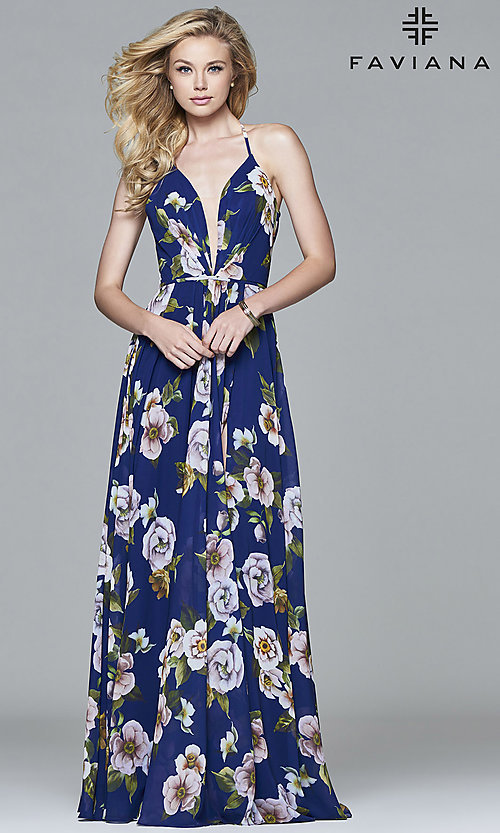 Image of floral-print v-neck long corset prom dress by Faviana. Style: FA-7946 Front Image