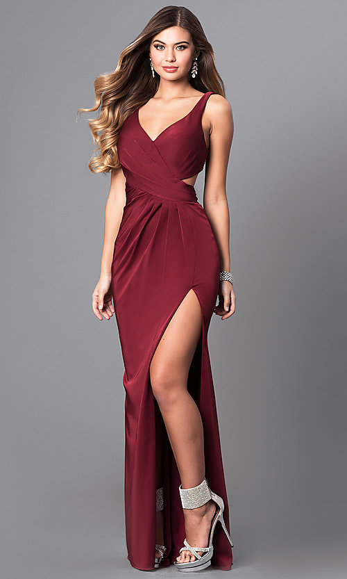 Image of v-neck prom dress with open back by Faviana. Style: FA-7954 Front Image