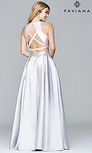 Image of two-piece long formal high-neck gown by Faviana Style: FA-7962 Back Image