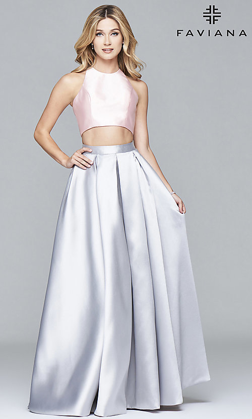 Image of two-piece long formal high-neck gown by Faviana Style: FA-7962 Detail Image 1