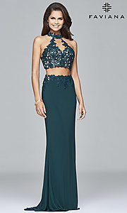 Image of Faviana two-piece long prom dress with lace applique. Style: FA-7967 Detail Image 2
