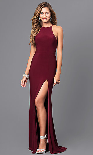 Long Prom Dress with High Neckline by Faviana