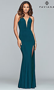 Image of Faviana Deep V-Neck Corset Prom Dress with Slit. Style: FA-7977 Detail Image 3
