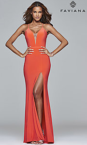 Image of Faviana Deep V-Neck Corset Prom Dress with Slit. Style: FA-7977 Detail Image 2