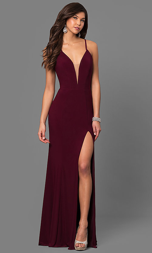 Image of Faviana Deep V-Neck Corset Prom Dress with Slit. Style: FA-7977 Detail Image 1