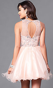 Image of illusion sweetheart fit-and-flare homecoming dress. Style: DQ-9179 Back Image