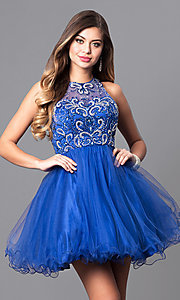 Image of illusion sweetheart fit-and-flare homecoming dress. Style: DQ-9179 Detail Image 3