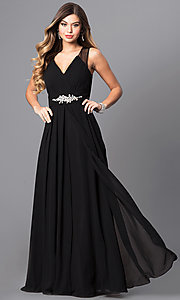 Image of long v-neck formal dress with jeweled empire waist. Style: DQ-9539 Front Image