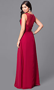 Image of long v-neck formal dress with jeweled empire waist. Style: DQ-9539 Back Image