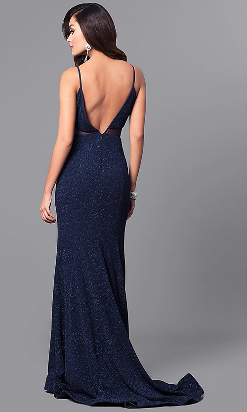Image of glitter navy blue long prom dress with open back. Style: DMO-J315706 Back Image