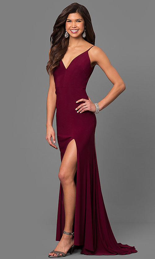 Image of wine red jersey v-neck long prom dress with side slit. Style: DMO-J315996 Front Image