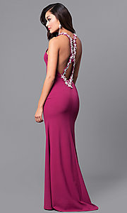 Image of wine purple long prom dress with lace applique. Style: DMO-J315856 Front Image