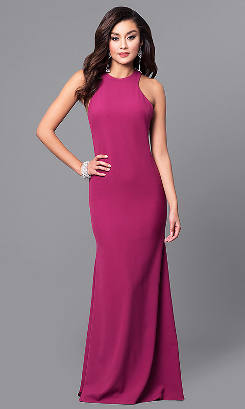 Image of wine purple long prom dress with lace applique. Style: DMO-J315856 Back Image