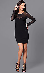 Image of short black holiday party dress with sheer sleeves. Style: BC-MCP64J29 Detail Image 1