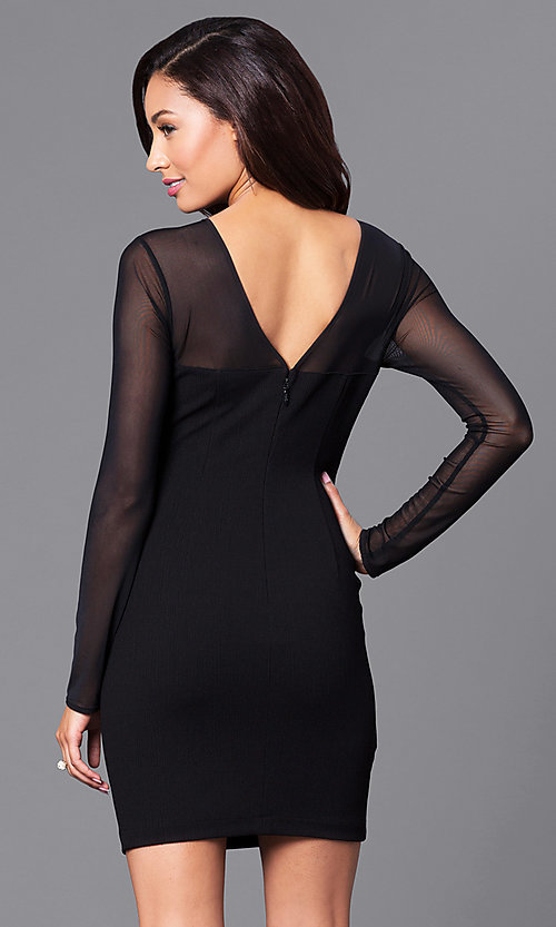 Image of short black holiday party dress with sheer sleeves. Style: BC-MCP64J29 Back Image