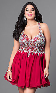 Image of short beaded plus-size burgundy red short prom dress. Style: DQ-8997Pb Front Image
