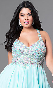 Image of short beaded plus-size burgundy red short prom dress. Style: DQ-8997Pb Detail Image 6