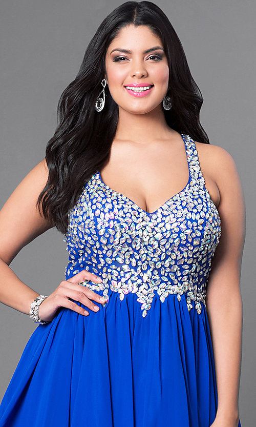 Image of short beaded plus-size burgundy red short prom dress. Style: DQ-8997Pb Detail Image 8