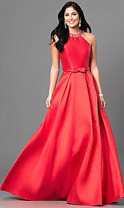 Image of long satin high-neck prom dress with jeweled collar.  Style: TE-6007 Front Image