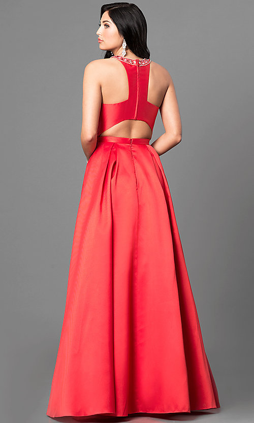 Image of long satin high-neck prom dress with jeweled collar.  Style: TE-6007 Back Image