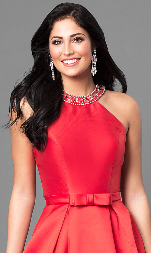 Image of long satin high-neck prom dress with jeweled collar.  Style: TE-6007 Detail Image 1