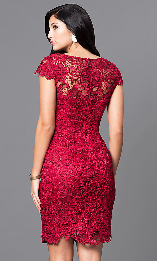 Image of short lace semi-formal party dress with cap sleeves. Style: DQ-9677 Back Image
