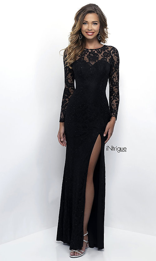 Long Sleeve Black Lace Prom Dress