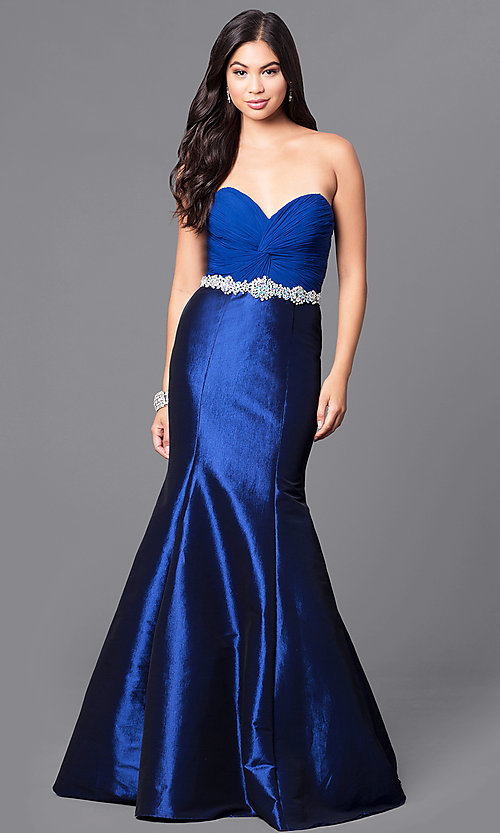 Navy Blue Long Mermaid Prom Dress from JVNX by Jovani