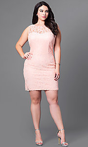Image of sleeveless short plus-size party dress in lace. Style: DQ-8767P Detail Image 1