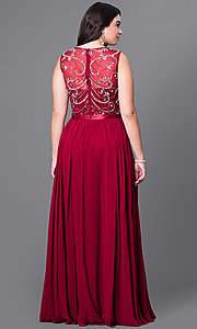Image of long sleeveless plus-size prom dress with jewels. Style: DQ-8736P Back Image