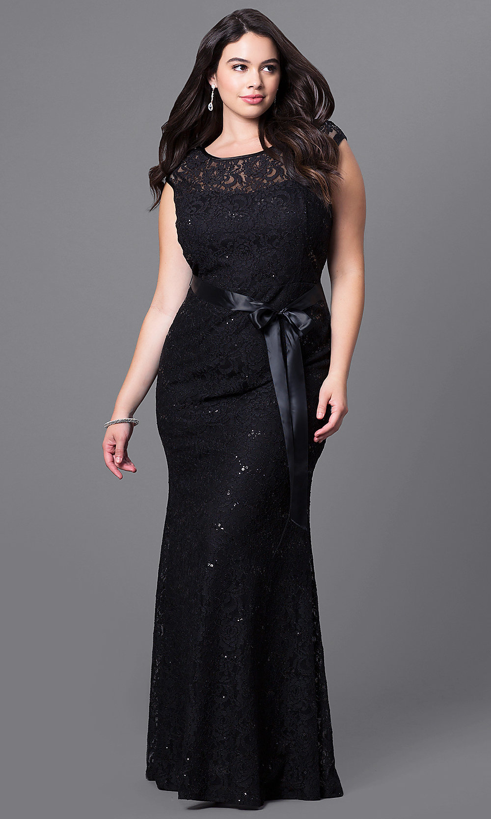 Long Plus-Size Sequin Lace Prom Dress - PromGirl