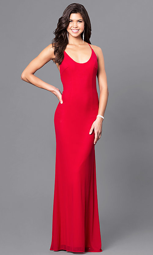 Image of valentine red long prom dress with open back. Style: BL-PG039 Back Image
