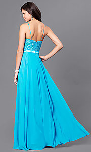Image of long prom dress with sweetheart illusion high neck Style: CD-GL-G703 Back Image