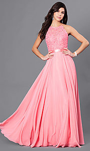 Image of long prom dress with sweetheart illusion high neck Style: CD-GL-G703 Front Image