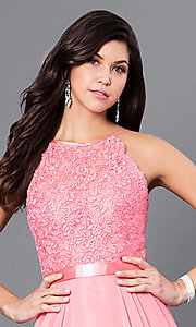 Image of long prom dress with sweetheart illusion high neck Style: CD-GL-G703 Detail Image 1