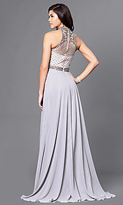 Image of high-neck long chiffon prom dress with beaded bodice. Style: CD-GL-G723 Back Image