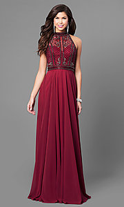 Image of high-neck long chiffon prom dress with beaded bodice. Style: CD-GL-G723 Front Image