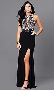 Image of long beaded open-back black prom dress with slits. Style: BN-156117 Front Image