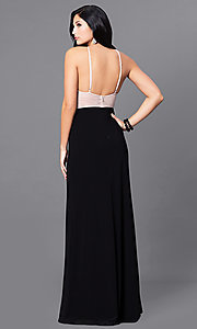 Image of long beaded open-back black prom dress with slits. Style: BN-156117 Back Image