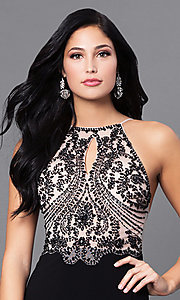 Image of long beaded open-back black prom dress with slits. Style: BN-156117 Detail Image 1