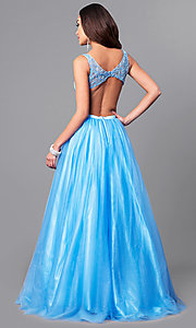 Image of open-back light blue prom dress with side cut outs. Style: MF-E2171 Back Image