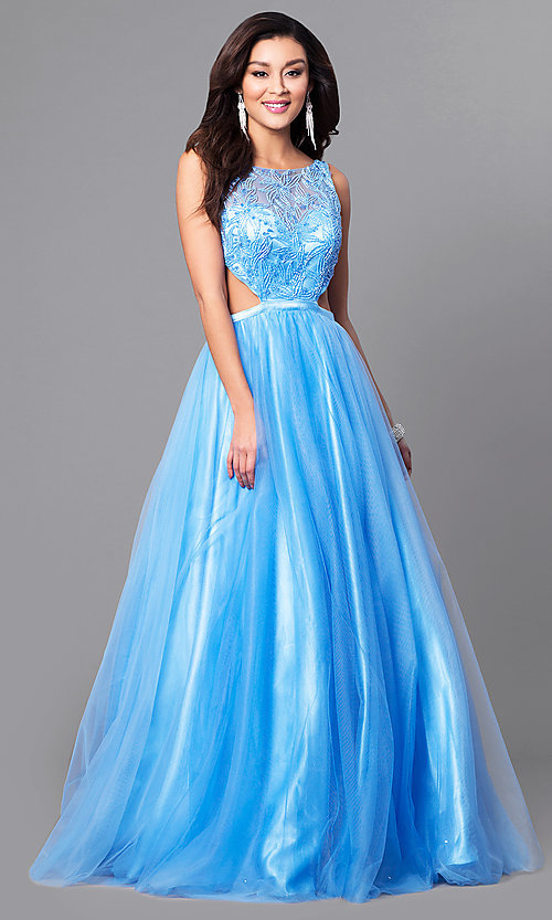Image of open-back light blue prom dress with side cut outs. Style: MF-E2171 Front Image