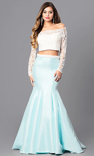 Off-the-Shoulder Long-Sleeve Two-Piece Prom Dress