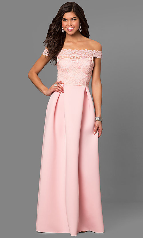 Image of long off-the-shoulder prom dress with lace bodice. Style: CL-44629 Front Image