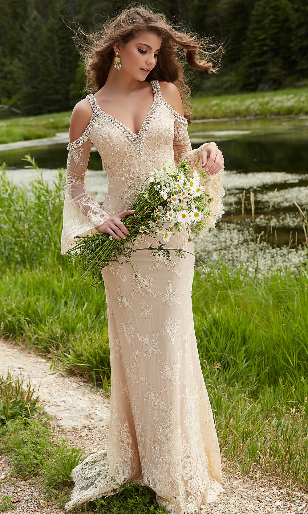 Nude and silver long fitted beaded sleeveless dress with