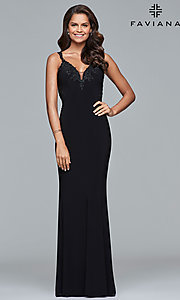 Image of v-neck floor-length formal prom dress by Faviana. Style: FA-S7999 Detail Image 3