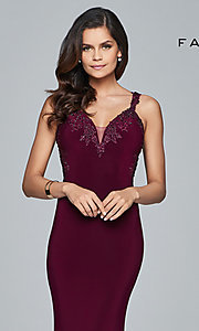 Image of v-neck floor-length formal prom dress by Faviana. Style: FA-S7999 Detail Image 1