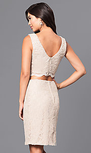Image of gold two-piece short lace homecoming party dress. Style: CT-3186QJ9A Back Image