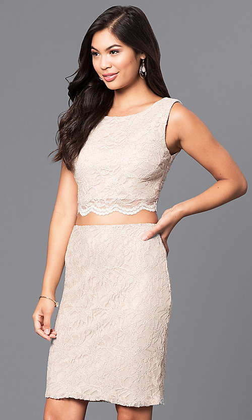 Image of gold two-piece short lace homecoming party dress. Style: CT-3186QJ9A Front Image