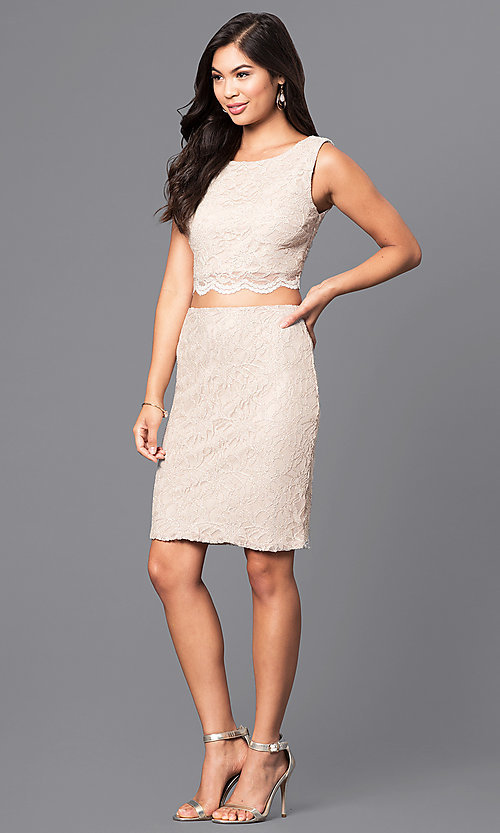 Image of gold two-piece short lace homecoming party dress. Style: CT-3186QJ9A Detail Image 1